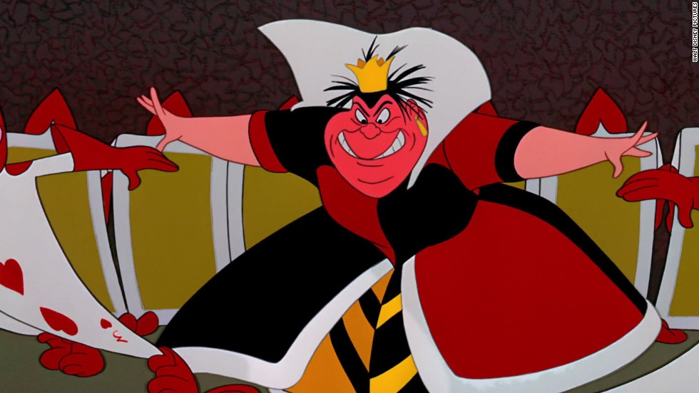 """Off with their heads!"" is one of the more famous quotes from the tyrannical and sadistic ruler of Wonderland, the Queen of Hearts, in Disney's 1951 animated film, ""Alice in Wonderland."" The ruler enjoys decapitating anyone who annoys her and blames Alice for spoiling a game of croquet."