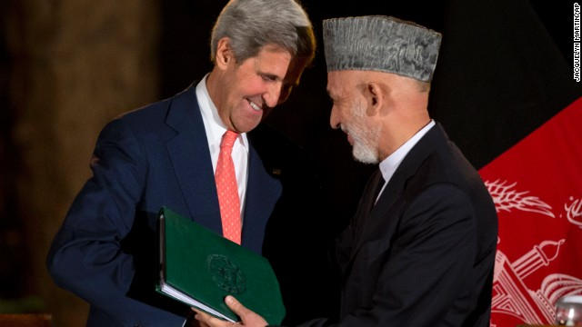John Kerry and Hamid Karzai conclude a news conference Saturday in Kabul, Afghanistan.