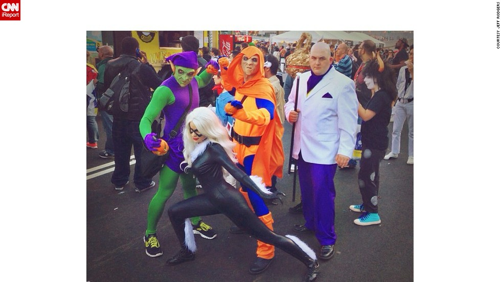 """<a href=""""http://instagram.com/p/faq8bCCDA3/"""" target=""""_blank"""">Spider-Man's enemies</a> -- Green Goblin, Hobgoblin and Kingpin, along with sometimes friend Black Cat -- would not be outdone."""