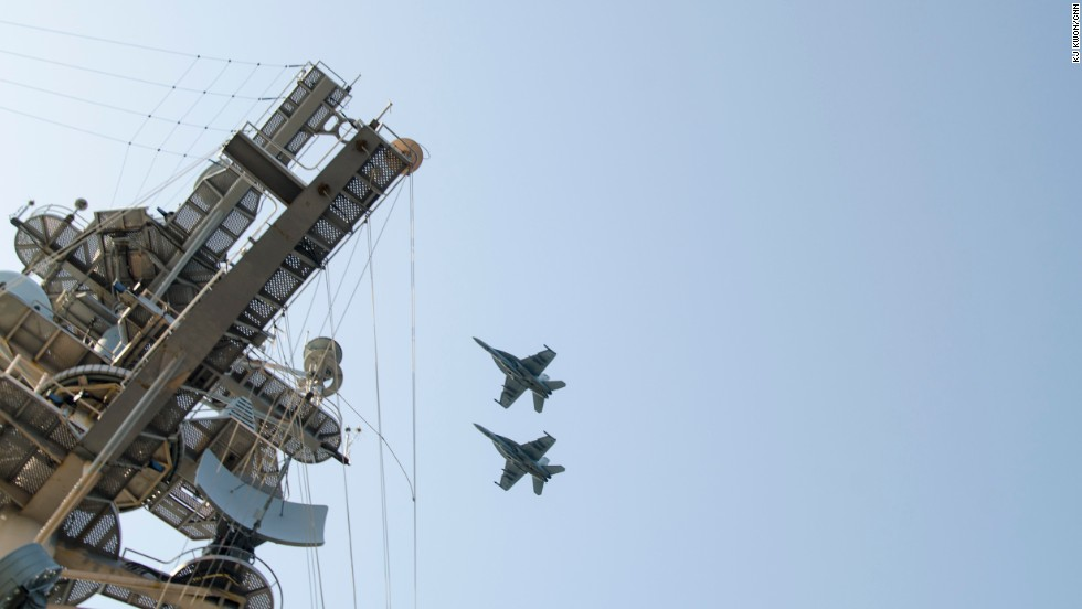 The carrier, which was on a routine patrol mission  in the waters off the Korean peninsula over the weekend, drew harsh rhetoric from North Korea which claimed to put its troops on alert in response to the drills.