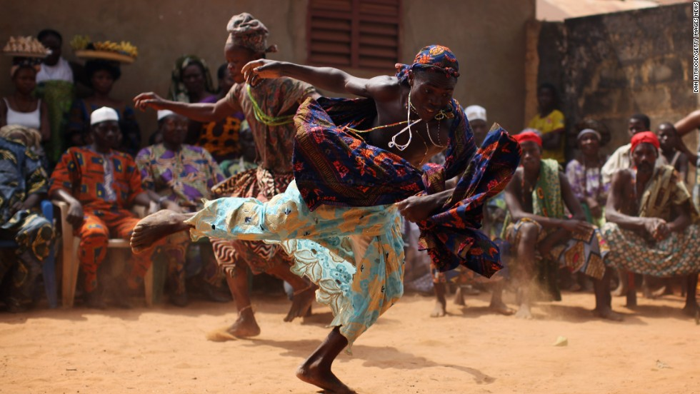 It features dancing and gin drinking, and a highlight is a horse race on the beach. Voodoo, or vodun, is recognized as a national religion in Benin.