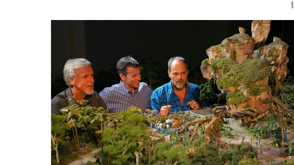 Walt Disney Imagineering's Joe Rohde (right) shares highlights of the Avatar project model with James Cameron (left) and Walt Disney Parks & Resort chairman Tom Staggs. The new Avatar-themed land will be located between the Animal Kingdom's Africa and  Oasis zones.