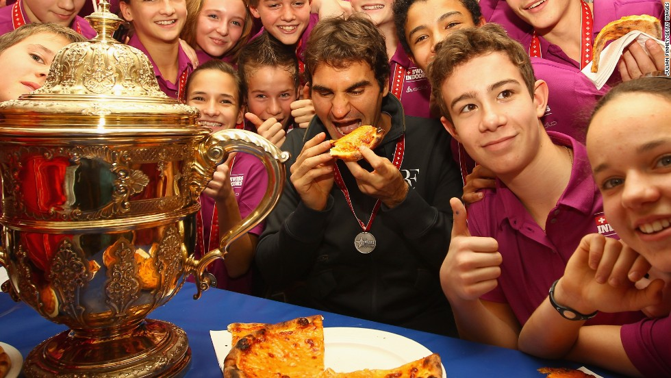 Roger Federer makes a tradition of giving out pizza to the ballkids at the annual ATP tournament in his hometown of Basel but the Swiss star keeps to a strict diet in his preparations.