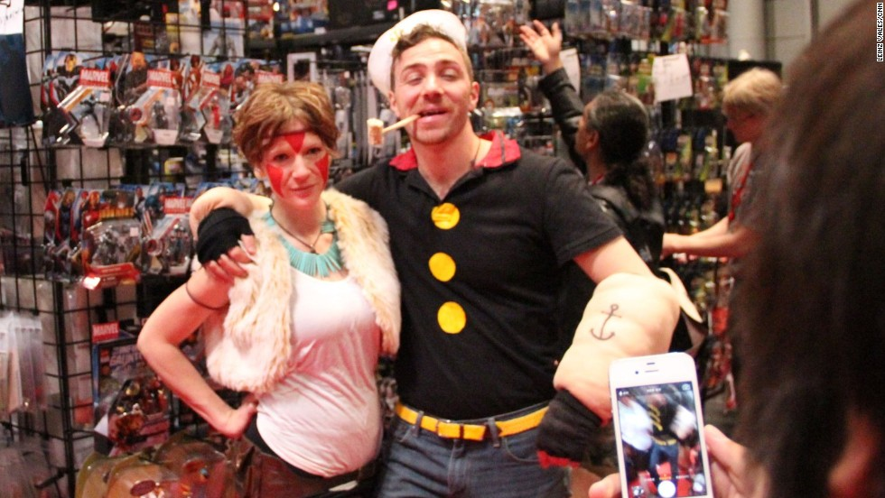 Popeye puts down his spinach in time for a photo op at Comic Con.