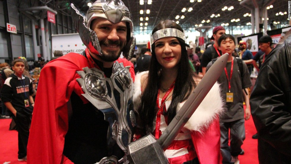 Thor, an Asgardian God and founding member of the Avengers takes a break from fighting evildoers to enjoy the sights at New York's Comic Con.