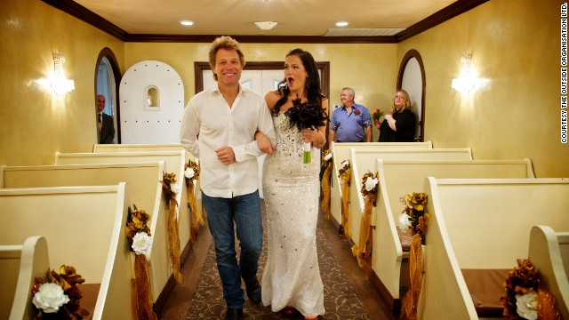 Jon Bon Jovi walked Australian bride to be Branka Delic down the aisle before her wedding to Gonzalo Cladera at the Graceland Wedding Chapel in Las Vegas, NV on October 12, 2013.