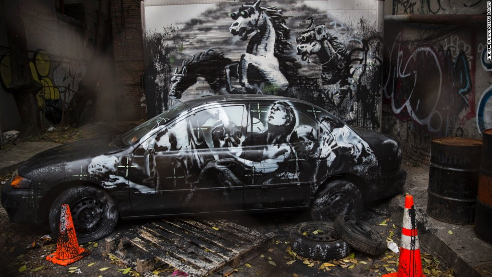 """This installation, seen in October 2013, on the Lower East Side of New York, depicts stampeding horses in night-vision goggles. Thought to be a commentary on the Iraq War, it also included <a href=""""http://banksy.co.uk/2013/10/09/lower-east-side"""" target=""""_blank"""">an audio soundtrack</a>."""