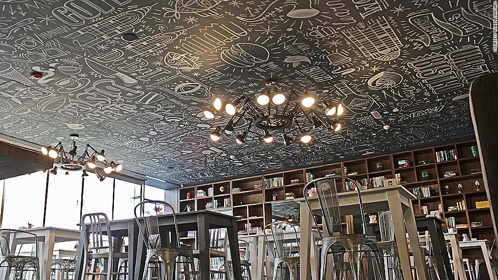Many businesses in Dubai are incorporating graffiti art into their design. Sanchez painted the ceiling of local cafe, Urban Bistro.