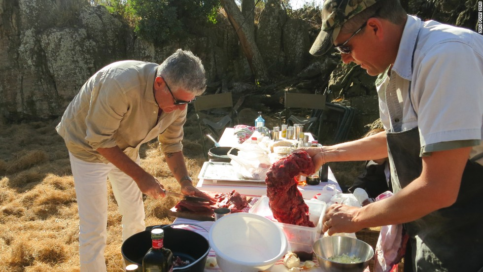 """Rest assured, every bite, every scrap will be eaten -- some of that tonight at dinner,"" Bourdain says of the eland."