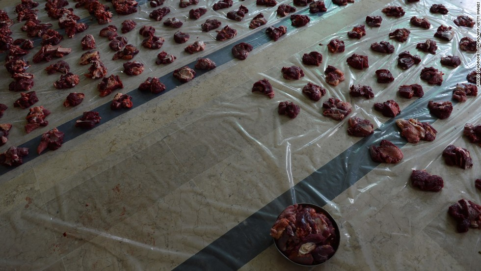 Freshly cut meat from slaughtered cattle is spread out on the floor of the Al-Falah mosque in Jakarta, Indonesia, on October 15.