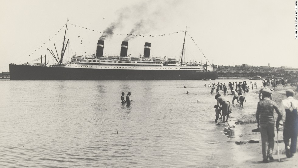 Here, the SS Belgenland sets off from Antwerp. A quarter of all Red Star Line passengers to North America were Jewish, and Fuentes says the company played an integral role in helping to save her family from the Nazis.