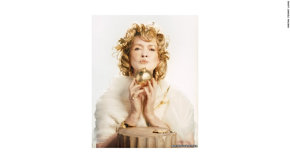 "Draped in a diaphanous wrap of gauzy silk-organza strips and <a href=""http://www.marthastewart.com/270663/golden-goddess-makeup-behind-the-scenes?xsc=synd_cnn"" target=""_blank"">wearing golden leaves in her hair</a>, Martha became a stunning<a href=""http://www.marthastewart.com/270249/golden-goddess?xsc=synd_cnn"" target=""_blank""> Golden Goddess</a> for the ""Good Things"" cover of the 2007 Halloween issue."