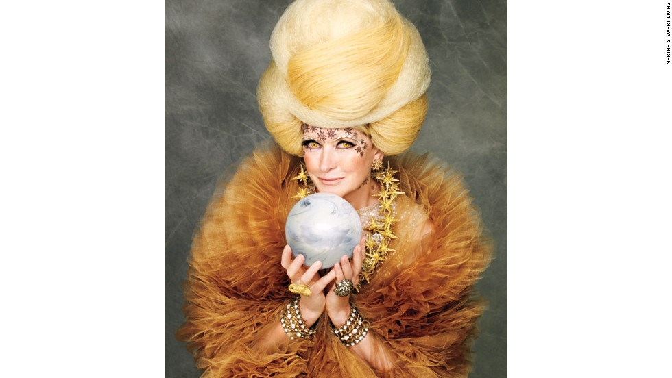 "Bedecked in crystals and stars for the cover of ""The Best of Martha Stewart: Halloween Handbook,"" Martha radiates spectral sophistication as a <a href=""http://www.marthastewart.com/921657/marthas-spellbinding-sorceress-costume?czone=holiday%2Fhalloween-center%2Fhalloween-center-costumes&gallery=274207&slide=921657&center=276965?xsc=synd_cnn"" target=""_blank"">spellbinding sorceress</a>."