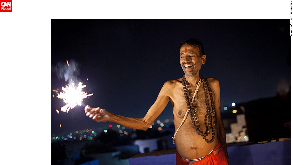 """Roy del Vecchio from the Netherlands was traveling through India during Diwali. """"I love India and wanted to experience the festival once in Rajasthan. <a href=""""http://ireport.cnn.com/docs/DOC-1046028"""" target=""""_blank"""">This man invited me for sweets</a>, a tradition during Diwali, and together with his sons we lit some fireworks on the rooftop,"""" said the 39-year-old."""
