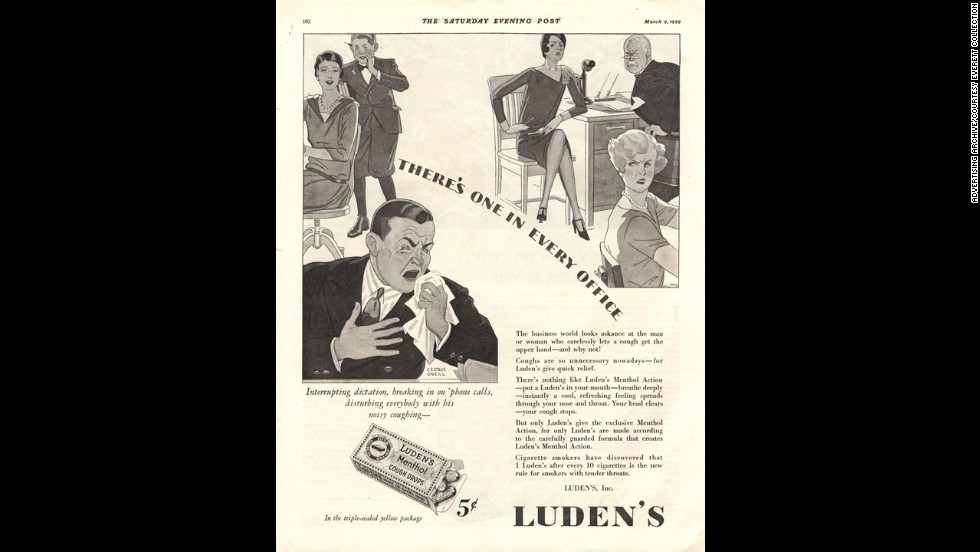 "In the 1930s, Luden's advertised their cough tablets as ""quick relief"" for annoying hacking. Luden's is <a href=""http://ludens.com/en/Products.aspx"" target=""_blank"">still a cold remedy company</a>, although their drops are now marketed to soothe sore throats."