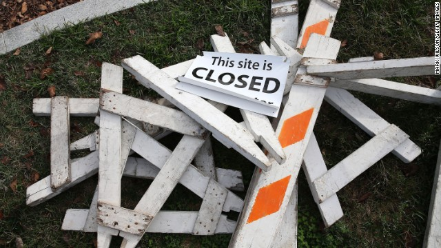 Barricades that were used to close the Martin Luther King Memorial lay dismantled on Thursday, October 17, the morning after the government shutdown ended.