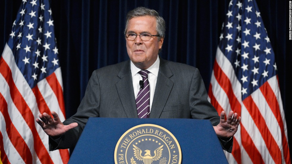 Former Florida Gov. Jeb Bush has said his decision to run for the Republican nomination will be based on two things: his family and whether he can lift America's spirit. His father and brother are former Presidents.
