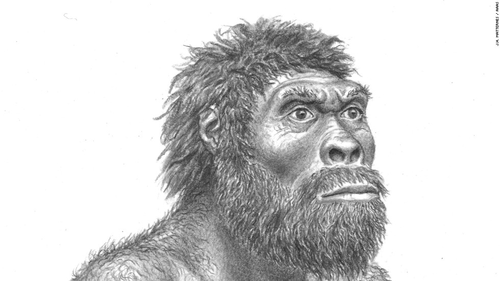 What did the individual look like whose complete skull was found? Here is one interpretation, by artist J.H. Matternes.