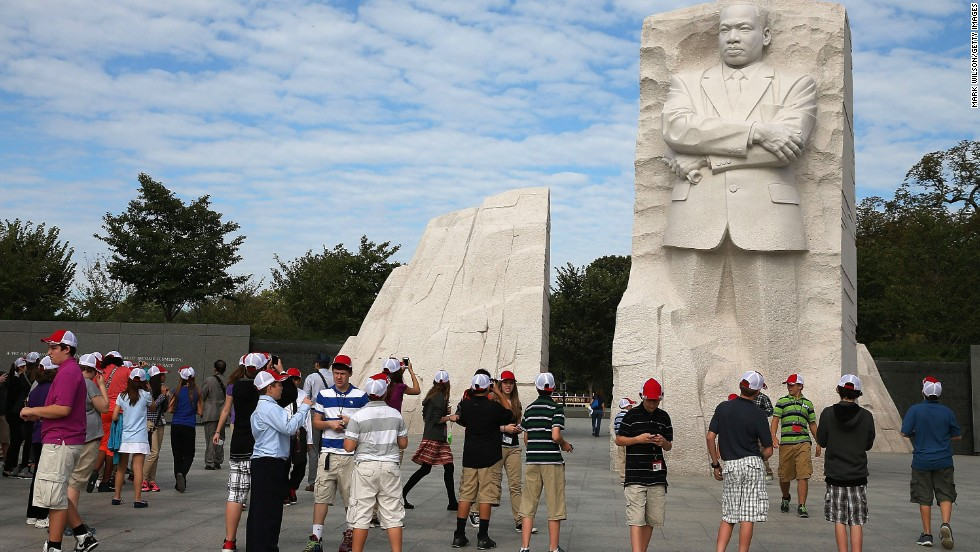 Tourists gather at the Martin Luther King Jr. Memorial in Washington on October 17.