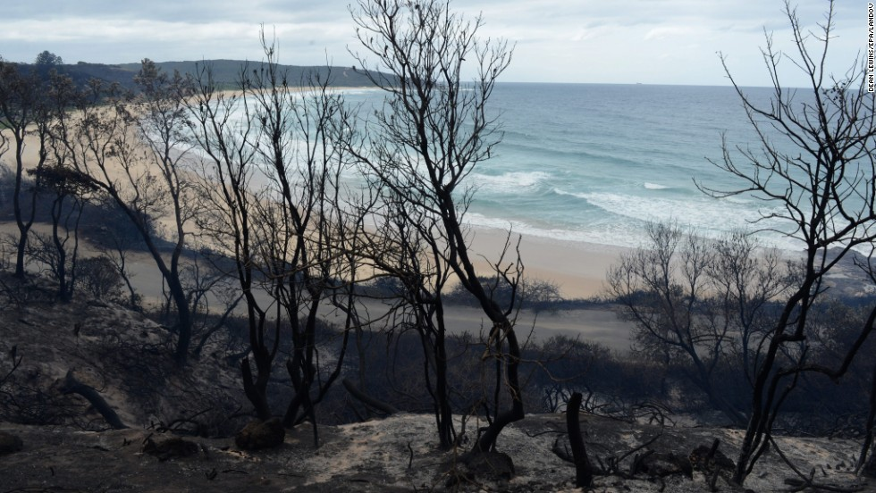 The charred coastline of Catherine Hill Bay is seen near Wyong, Australia, on October 18.