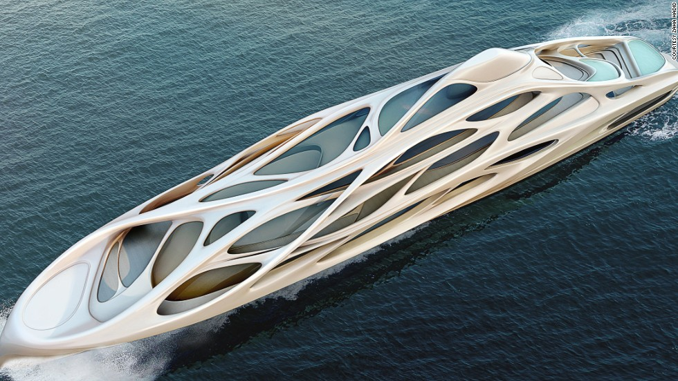 "<strong>JAZZ, designed by Zaha Hadid</strong><br /><br />Blohn+Voss is the same company behind billionaire businessman Roman Abramovich's ""Eclipse"" -- the second-largest superyacht in the world.<br /><br />In this one-off project, Hadid designed six luxury vessels, ranging from a 90-meter version called ""Jazz"" to a 128-meter ""master prototype."""
