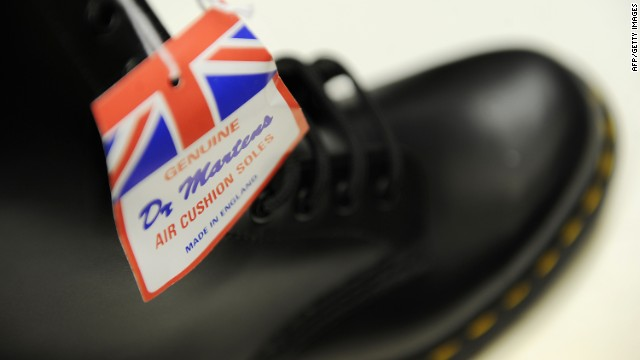 Dr Martens boots are pictured in the Dr Martens factory in Wellingborough, Northamptonshire, in central England, on March 18, 2010.