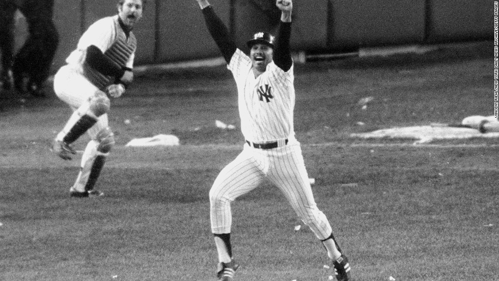 The New York Yankees' Chris Chambliss jumps for joy in game five of the 1976 American League Championship Series. He recently sold the bat he swung and the ball he hit to defeat the Kansas City Royals for $121,874.