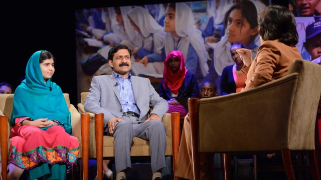 CNN's Christiane Amanpour speaks with Malala and Ziauddin Yousafzai at the 92nd Street Y in New York on October 10, 2013.