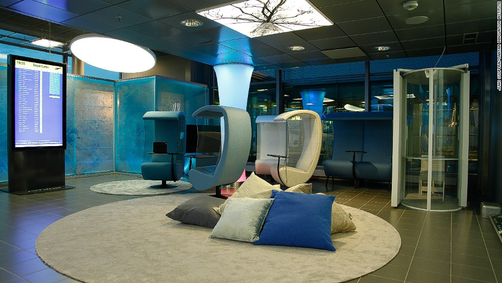 Helsinki International Airport has a resting area that offers free sleeping pods.