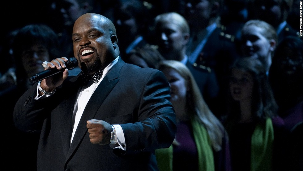 """Green sings during a taping of """"Christmas in Washington,"""" on December 11, 2011. The show was attended by President Barack Obama and his family."""