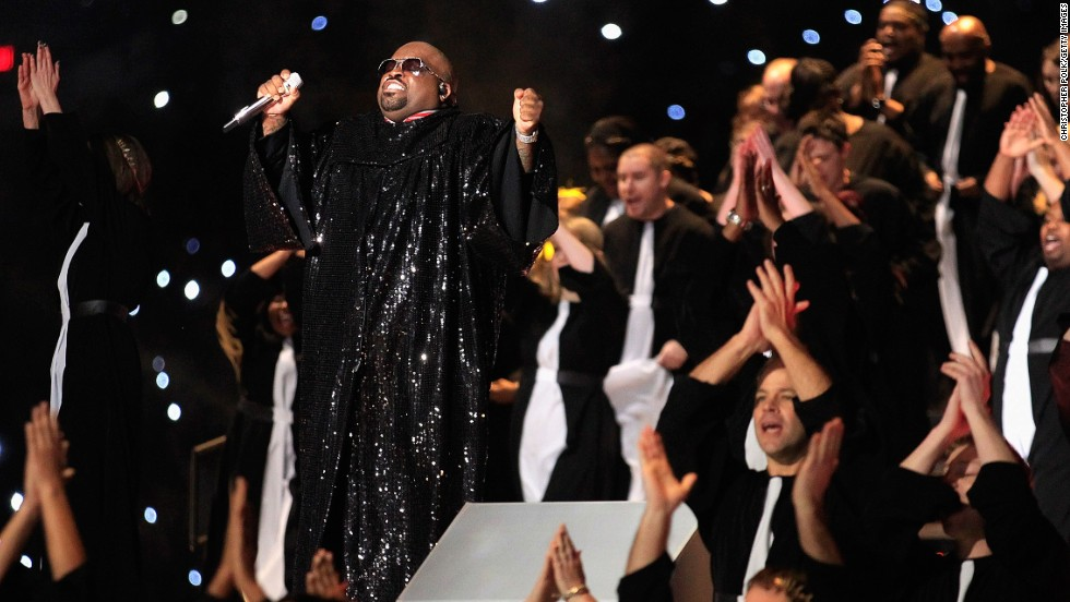 Green performs during the Super Bowl XLVI halftime show on February 5, 2012, in Indianapolis.