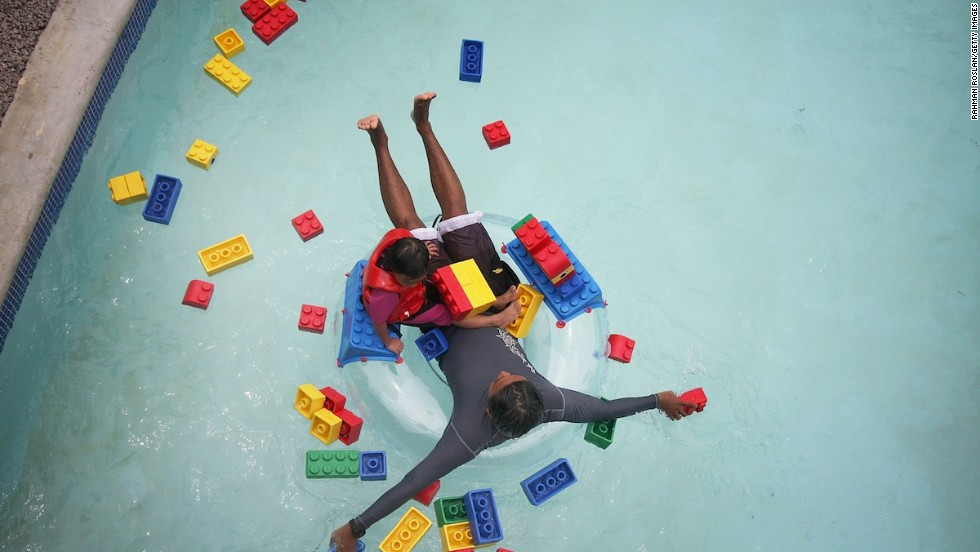 On the water park's Build-A-Raft River, guests customize their own rafts with soft Lego bricks and float through the park via a slow-moving current.