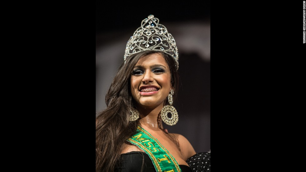 Raika Ferraz smiles after winning the Miss T Brazil transgender beauty pageant on Monday, October 21.