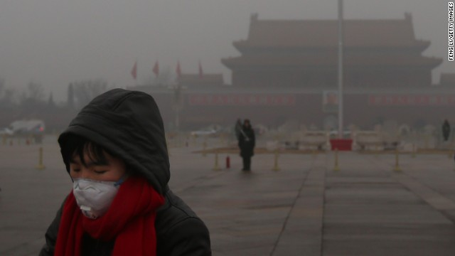 Beijing has become infamous for its smog, as this picture from Tiananmen Square in January this year shows.