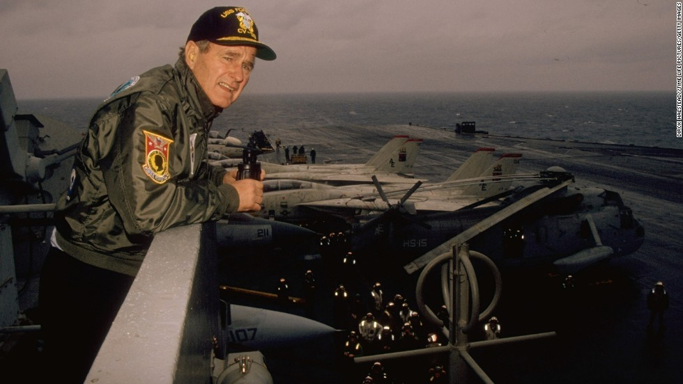 "Then-President George H. W. Bush looks over the USS Forrestal during the United States/Soviet Union summit in December 1989. <a href=""http://cnnphotos.blogs.cnn.com/2012/01/27/the-ship-graveyards-of-bangladesh/"" target=""_blank"">Take a look at the ship graveyards of Bangladesh</a>."