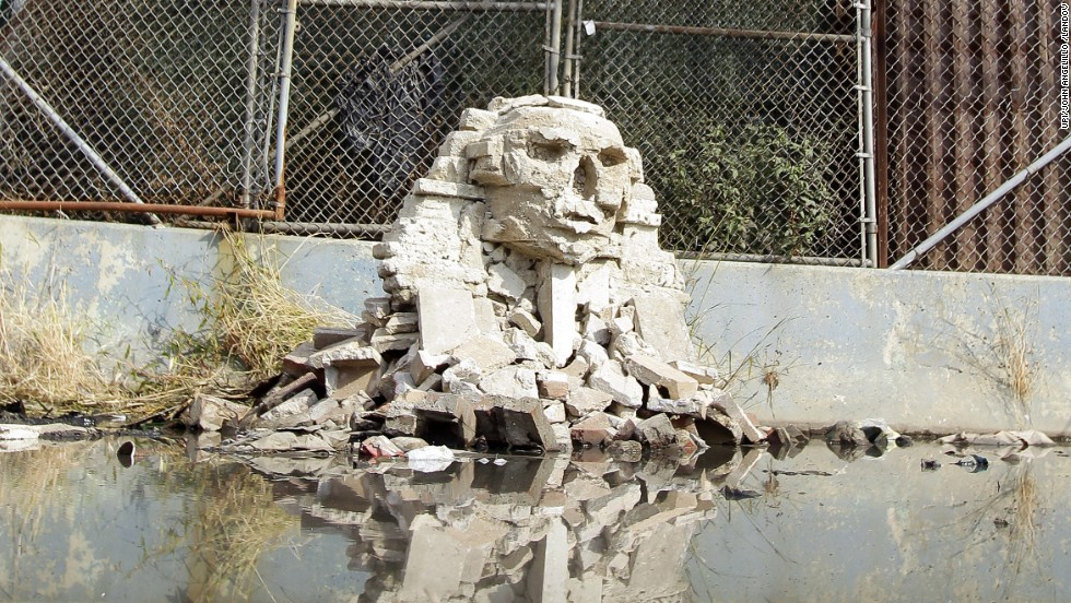 Banksy's replica of the Great Sphinx of Giza was made in Queens out of smashed cinder blocks.