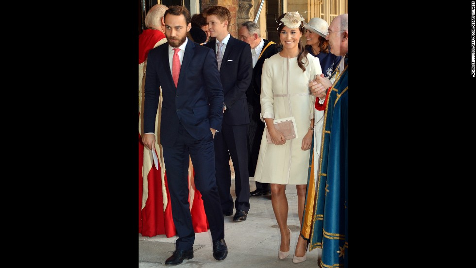 Pippa and James Middleton, sister and brother of the duchess, leave the chapel.