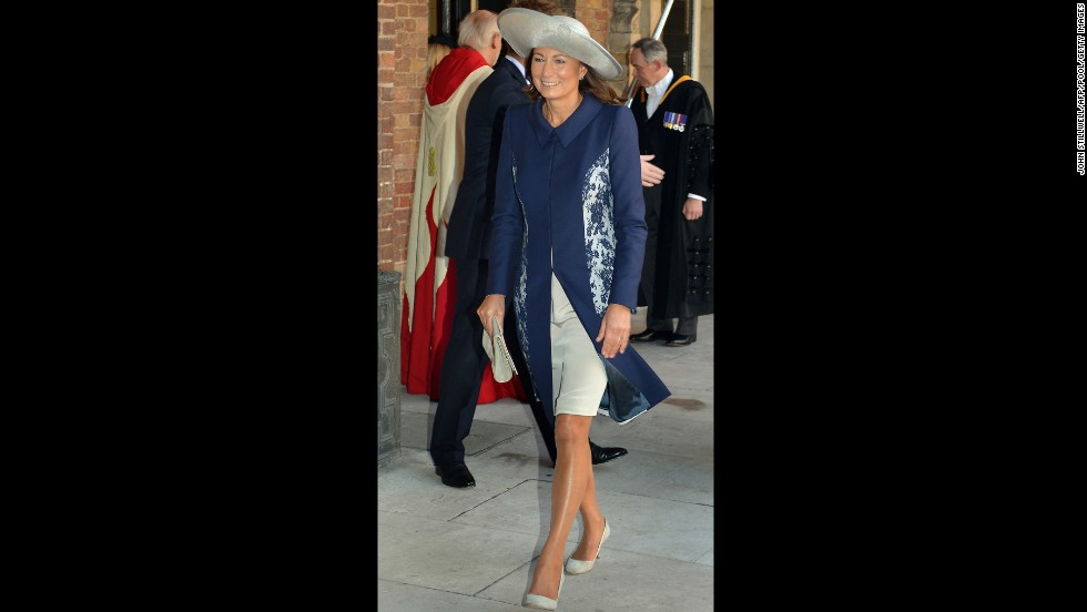 Carole Middleton, Prince George's grandmother, leaves the chapel following the christening.