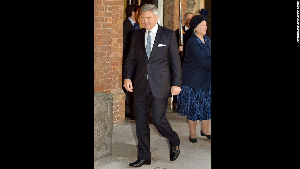 Grandfather of Prince George, Michael Middleton, leaves after the christening.