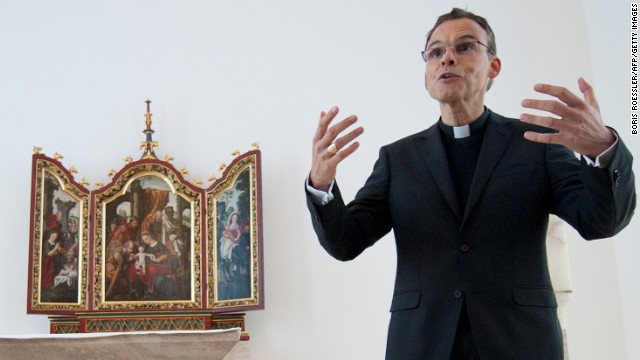 Picture taken on December 12, 2012 shows Limburg's Bishop Franz-Peter Tebartz-van Elst in his private chapel at the bishop's residence in Limburg an der Lahn, central Germany. As the Vatican announced on October 23, 2013, Tebartz-van Elst was temporarily suspended from his office. The bishop is under fire for building an extravagant multi-million-euro residential complex and for allegations that he also lied under oath. AFP PHOTO / DPA / BORIS ROESSLER / GERMANY OUT (Photo credit should read BORIS ROESSLER/AFP/Getty Images)