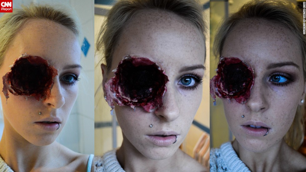 "Even though she is only 19, Martha Ryan from Ireland has an<a href=""http://ireport.cnn.com/docs/DOC-1041033"" target=""_blank""> impressive collection of freaky Halloween faces</a>. By day she is a make-up artists catering for weddings and the like, but her true passion is special effects make up. ""I love playing with people's imaginations and freaking them out a little. I want people to try to figure out how I created a look,"" she said."