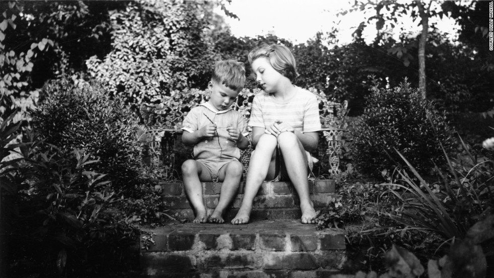 1948: Chevey, 3, and Molly, 8, in the garden of their house on Pocahontas Avenue.