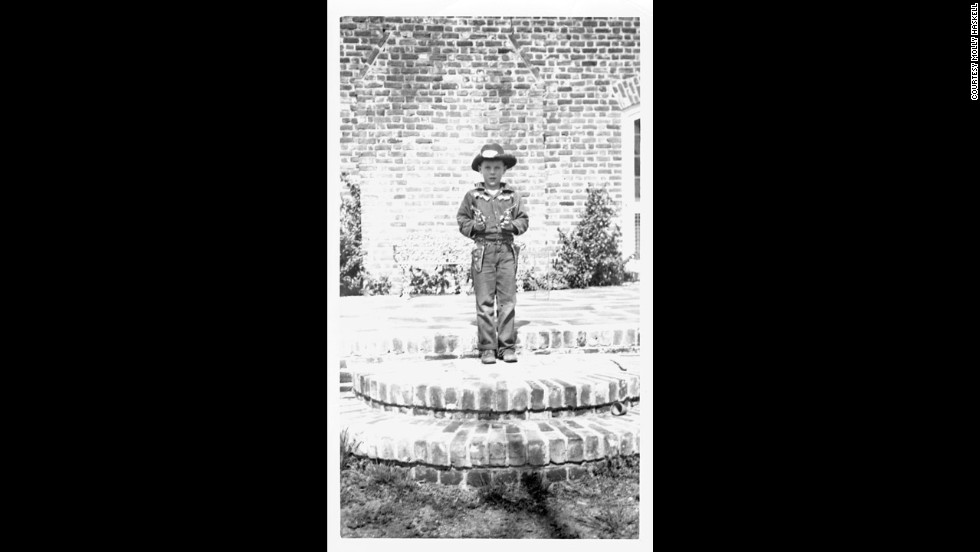 1950: Chevey in full cowboy regalia at the Haskells' home in the country outside Richmond, Virginia.