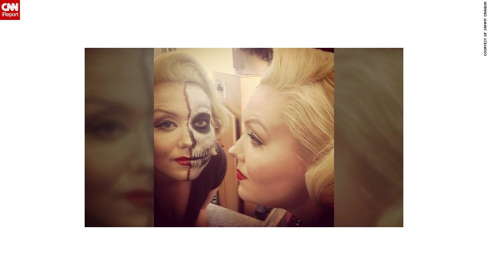 """I call her Scary'lyn Monroe,"" said 27-year-old cosmetology student Sammy Cragun, who transformed her friend Andie Royster into a dead hot Marilyn Monroe. ""I loved to draw and do art my whole life. Makeup is live art with a face or body for a canvas, plus I have always had an affinity for the macabre,"" she added."