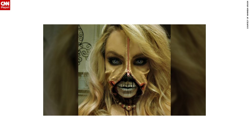 "There is something disturbingly attractive about this gruesome Halloween costume made by makeup artist Amanda Kroon from California. ""I say it was a <a href=""https://www.facebook.com/makeupbymanda"" target=""_blank"">mission accomplished in the fright department</a>. The reactions have been terrifying yet positive for the most part; however what is a Halloween costume if not to be scary?"" confessed the 26-year-old who snapped this photo in 2010. ""It took about 3 hours to complete and I used spirit wax, spirit gum, fake blood, latex, and even toilet paper to achieve the ripped off flesh look,"" she added."