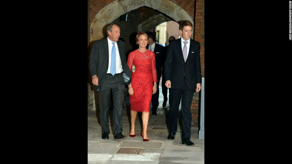 From left, Michael and Julia Samuel arrive with Earl Grosvenor, son of the Duke of Westminster. Julia Samuel was a good friend of William's mother, Diana, Princess of Wales.