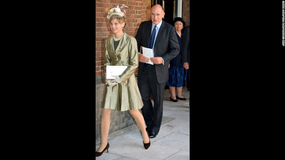 Jamie Lowther-Pinkerton, a former private secretary to the Duke and Duchess of Cambridge and Prince Harry, leaves the Chapel Royal with his wife, Susannah.