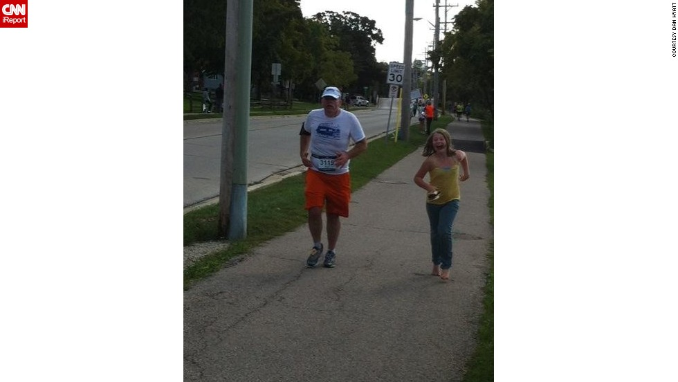 "Hyatt ran his third marathon last month with his 9-year-old daughter Alora accompanying him for the last half mile. ""She was proud to be able to run faster than her father. I told her that after running 25.5 miles, I was beat, but I kicked it in for the last 300 yards for the finish."""