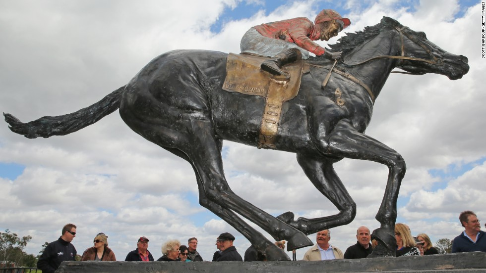 The sculpture, by artist Mitch Mitchell, is lifesize, right down to the horses famous rump.