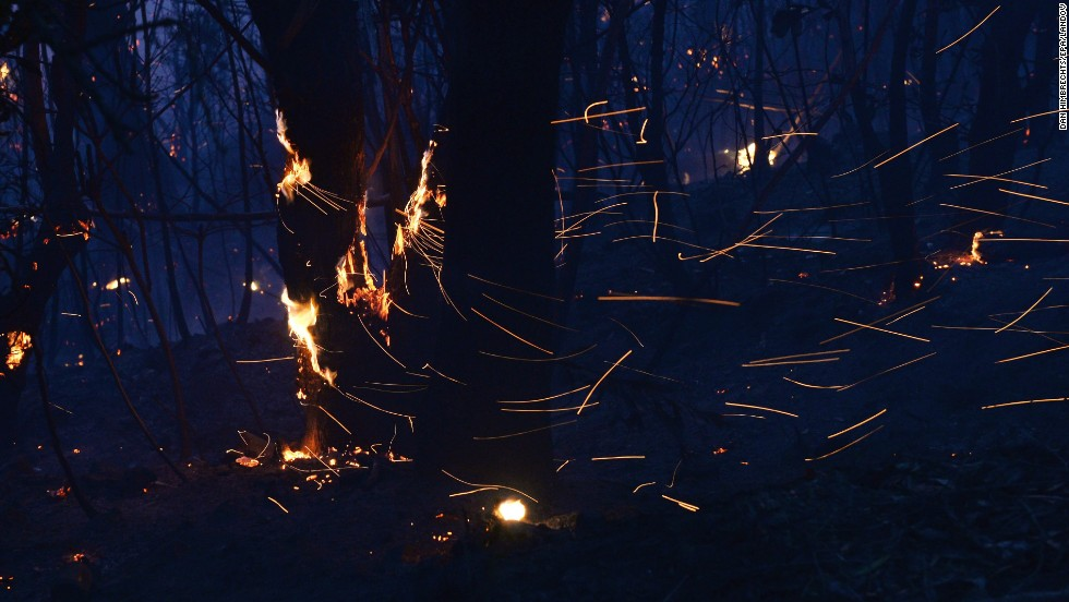 Embers blow around trees as a fire rages near Mount Wilson on October 24.